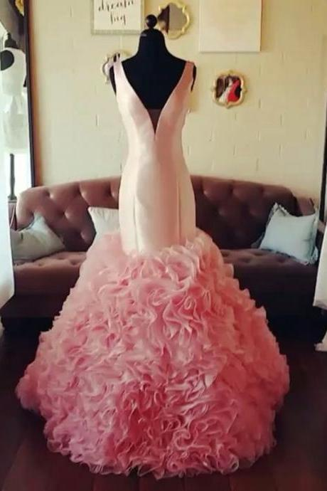 New Arrival Prom Dress,Modest Prom Dress,blush pink v neck organza ruffles mermaid prom dresses 2017 pageant evening gowns