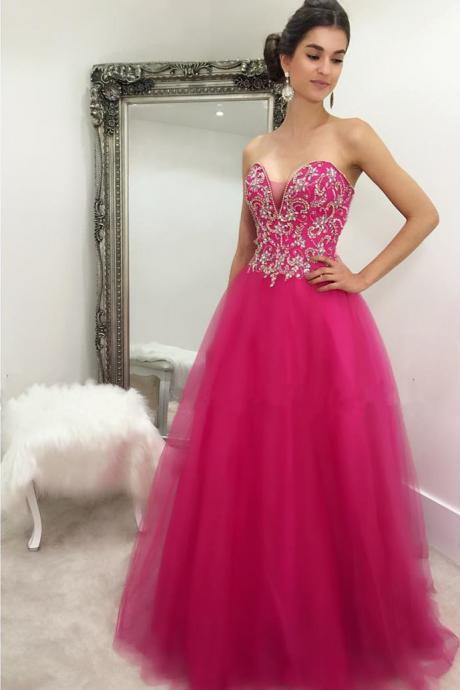 New Arrival Prom Dress,Modest Prom Dress,crystal beaded sweetheart long fuchsia ball gowns prom dresses 2017 quinceanera gowns