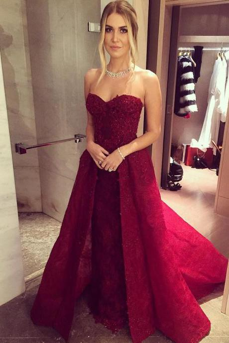 New Arrival Prom Dress,Modest Prom Dress,lace sweetheart long burgundy evening gowns 2017 prom dress detachable skirts