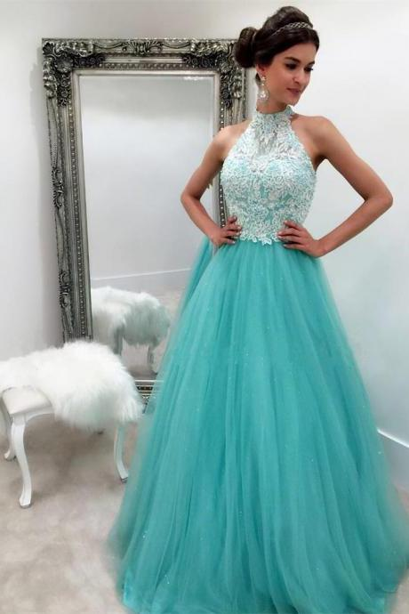 New Arrival Prom Dress,Modest Prom Dress,white lace appliques halter long organza turquoise prom dresses ball gowns 2017
