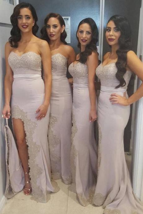 elegant bridesmaid dresses,lace appliques mermaid dress,long mermaid evening gowns,slit prom dress,sexy prom dress 2017