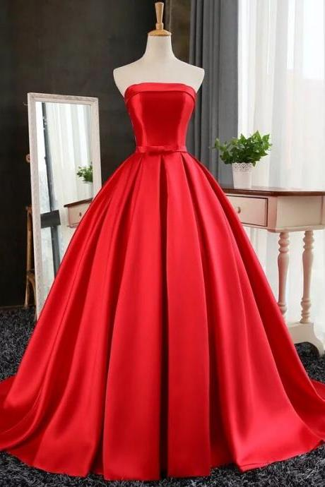 New Arrival Prom Dress,Modest Prom Dress,red satin ball gowns prom evening dresses 2017 strapless formal dress