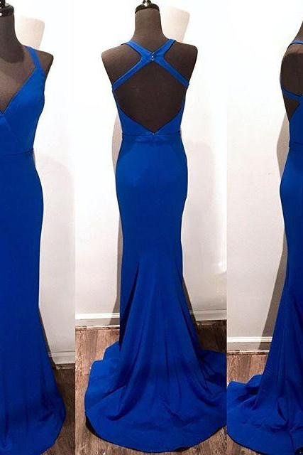 New Arrival Prom Dress,Modest Prom Dress,v neck cross back long royal blue mermaid prom dresses 2017