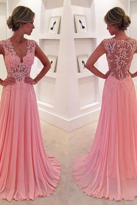 New Arrival Prom Dress,Modest Prom Dress, lace appliques,long prom dress 2017,chiffon prom gowns