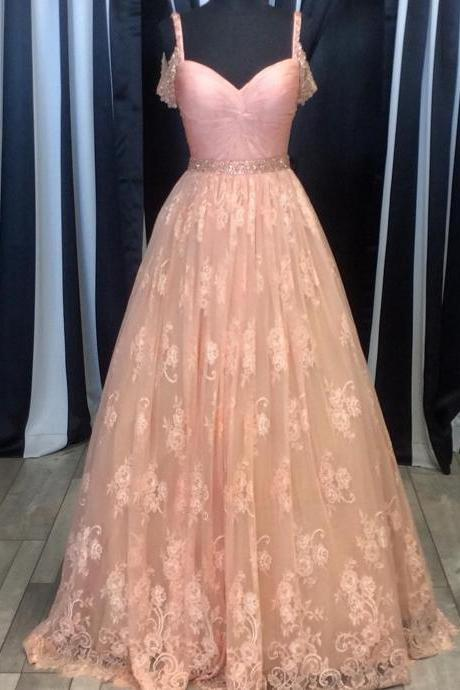 New Arrival Prom Dress,Modest Prom Dress,blush pink lace ball gowns prom dress 2017 women's sweetheart formal dress with beaded straps