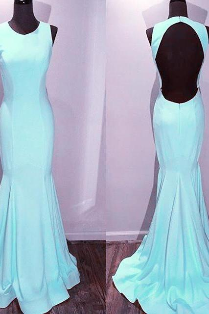 New Arrival Prom Dress,Modest Prom Dress,light blue satin backless mermaid prom dresses 2017
