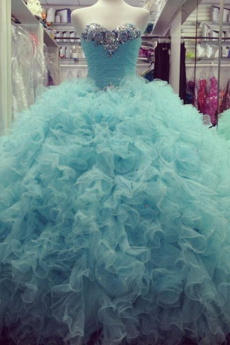 New Arrival Prom Dress,Modest Prom Dress,Gorgeous Beaded Sweetheart Organza Ruffles Ice Blue Quinceanera Dresses Ball Gowns 2017