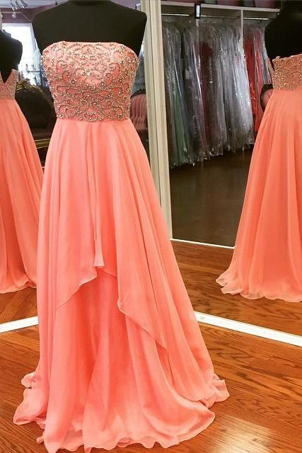 New Arrival Prom Dress,Modest Prom Dress,strapless prom dress,long evening gowns,chiffon prom dress,pearl beaded formal dress,sexy prom dress,prom gowns 2017