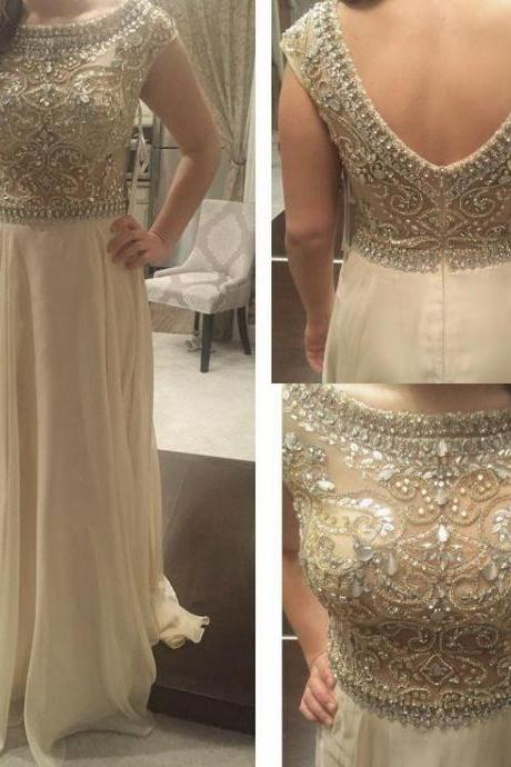 New Arrival Prom Dress,Modest Prom Dress,Long Prom Dresses 2017 Scoop Sleeveless Backless Sweep Train Crystal and Beading Chiffon Formal Dress A-line Party Dress