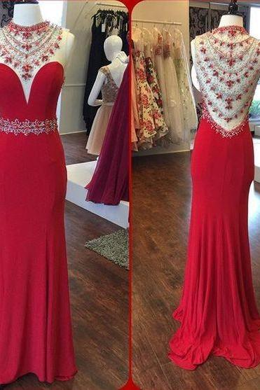 Mermaid Prom Dresses O-Neck Sleeveless Sheer Back Sweep Train Chiffon and Crystal Party Dress Formal Gown