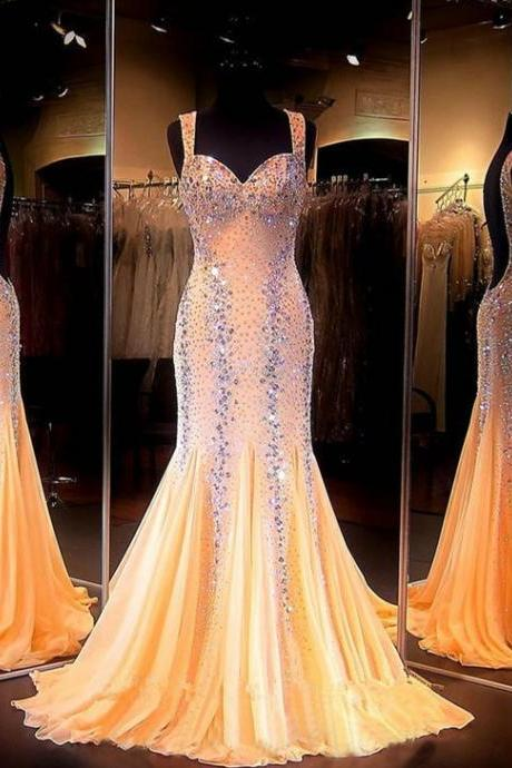 New Arrival Prom Dress,Modest Prom Dress,Mermaid Prom Dresses 2017 Sweetheart Sleeveless Backless Sweep Train Chiffon with Crystal Long Formal Dress Beaded Party Dresses