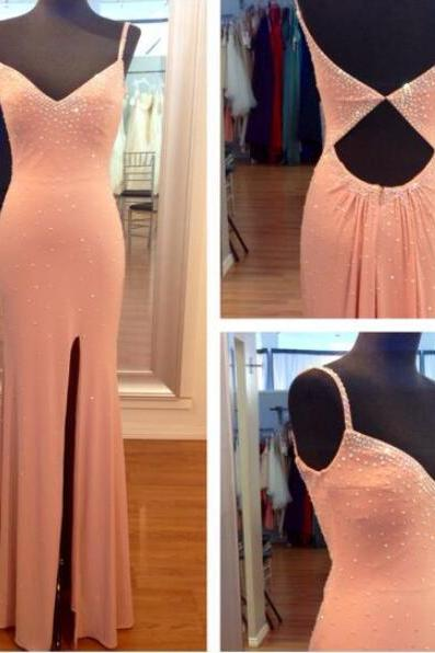 New Arrival Prom Dress,Modest Prom Dress,2017 High Slit Prom Dress,Mermaid Prom Dress,Pink Evening Dress,Cut Out Long Evening Dress,V neckline Party Dress with Beaded