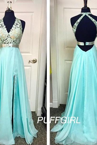 New Arrival Prom Dress,Modest Prom Dress,A Line Halter V Neck Open Back Silk Chiffon Prom Dress With Sheer Lace Bodice