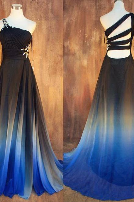 New Gradient Ombre Chiffon Prom Dresses Sexy Backless Beading Evening Dress One Shoulder Pleats Women Dress