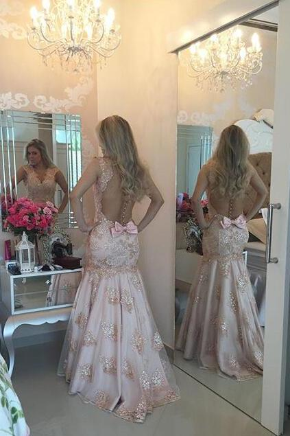 Sexy Evening Gowns Mermaid Pink Lace Prom Dress, Pageant Gown Lace Bodice, Sweep Train