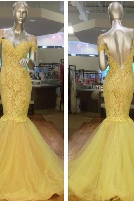 New Arrival Prom Dress,Modest Prom Dress,Stunning Yellow Off the shoulder short Sleeves 2017 Evening Dress Lace Mermaid Prom Gown