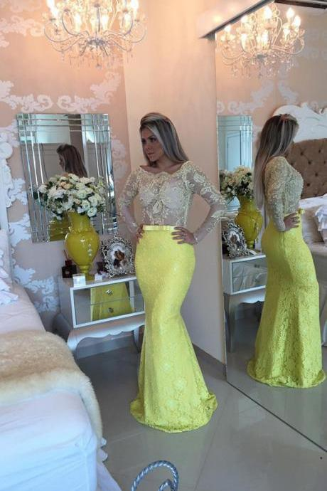 New Arrival Prom Dress,Modest Prom Dress,Stunning Yellow Long Sleeve 2017 Evening Dress Lace Mermaid Prom Gown