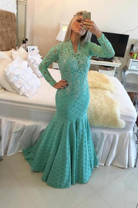 New Arrival Prom Dress,Modest Prom Dress,Glamorous Long Sleeve Lace 2017 Evening Dresses Appliques Mermaid Prom Dress