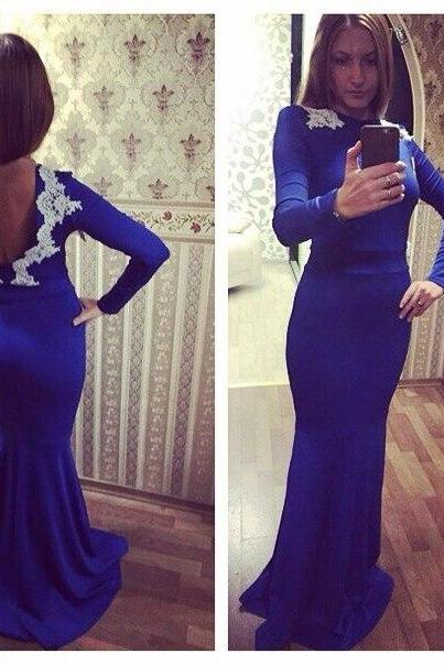 New Arrival Prom Dress,Modest Prom Dress,Newest Lace Appliques 2017 Evening Dress Long Sleeve Prom Dress