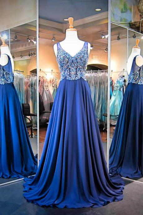 New Arrival Prom Dress,Modest Prom Dress,Gorgeous A-line Crystals Straps 2017 Evening Dress Sleeveless Sweep Train