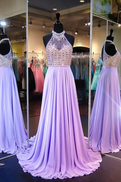 Prom Dresses,Modern Halter Crystals 2017 Evening Dress Chiffon Sleeveless A-line Sweep Train Prom Dress