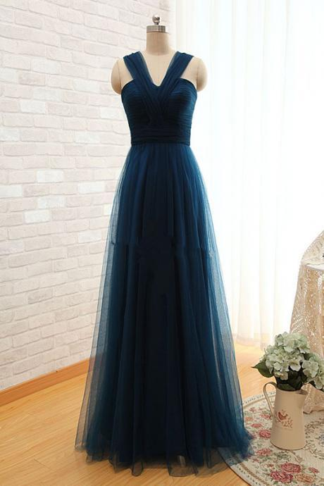 Prom Dresses,Elegant Sleeveless 2017 Evening Dress Long Tulle Floor Length