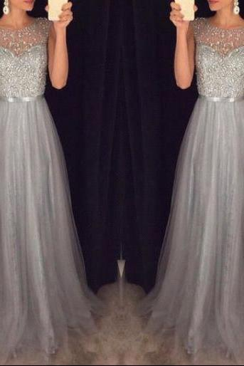 Prom Dresses,Elegant Sparkly Tulle Grey A-line Sequins Beaded Sleeveless Evening Dresses
