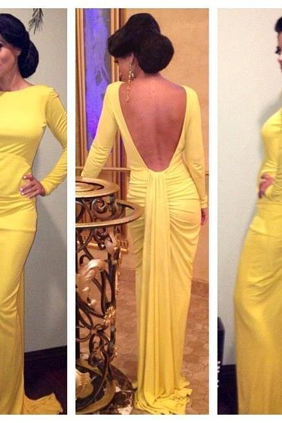 Prom Dresses,2017 Sheath Long-Sleeve Open-Back Ruched Yellow Evening Dress