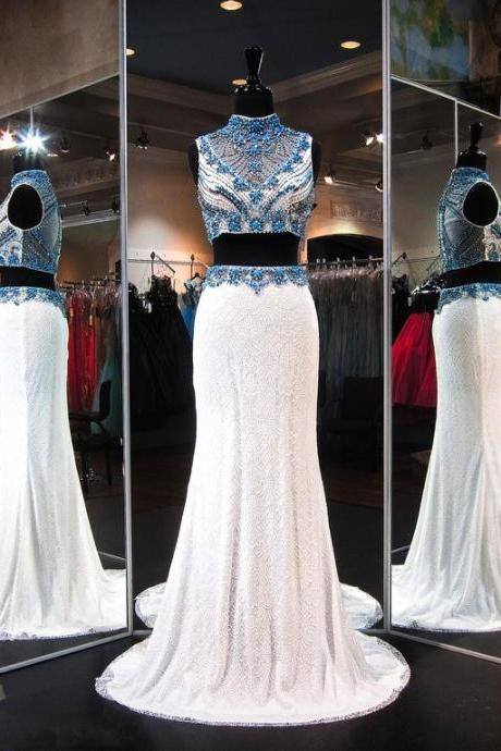 Prom Dresses,2017 Gorgeous Crystals Lace Two-Piece Zipper Sleeveless High-Neck Evening Dress
