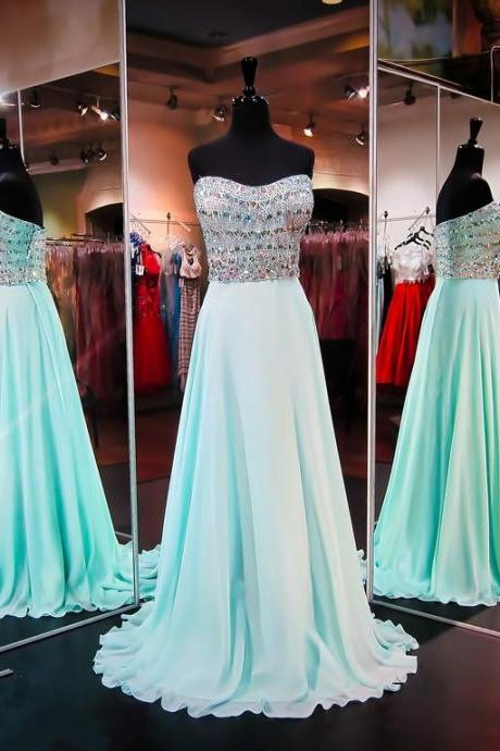 Prom Dresses,Sexy 2017 Gorgeous A-line Sleeveless Strapless Chiffon Crystals Evening Dress