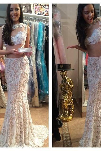 Prom Gown,Two Piece Champagne Jewel Court Train Lace Crop Tops Trumpet Mermaid Prom Evening Dress
