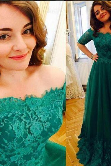Vintage Plus Size Evening Formal Dress,Short Sleeve Prom Dresses, Princess Green 2017 Lace Prom Dresses,A Line Evening Dress,High Quality Prom Dress,Custom Made Evening Prom Dress,Hot Sale Prom Dress