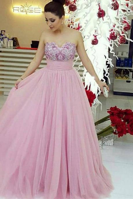 Prom Dresses,Prom Dress,Pink Evening Gown Ball Gown Tulle Prom Dress