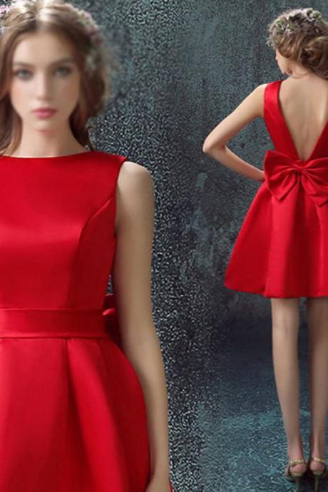 Sweetheart Red Homecoming Dresses,Sleeveless Homecoming Dresses,Graduation Dresses,Satin Homecoming Dresses,Sexy Backless Homecoming Dresses,Short Prom Dresses