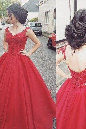 Elegant Long Prom Dresses,Red Evening Gowns,Ball Gowns Evening Dresses,Lace Prom Dresses,Cap Sleeve Evening Dresses,Floor-Length Evening Dress,Applique Prom Gowns,Pretty Evening Dress