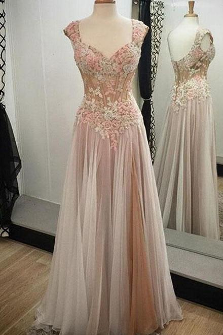 Charming Prom Dresses,Long Prom Dresses,Tulle Evening Dresses,Cap Sleeves Evening Gowns,Applique Prom Gowns,Floor-Length Prom Dresses,Pretty Prom Dresses