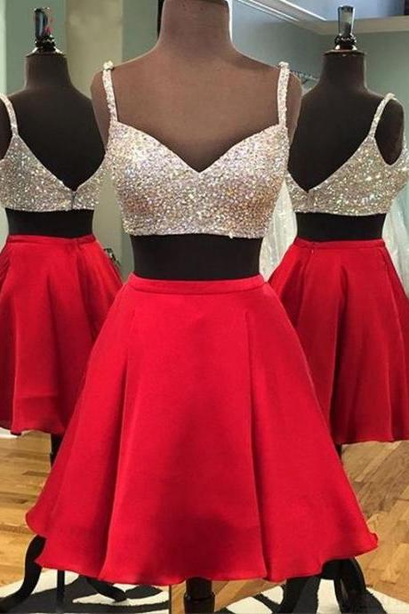 Sweetheart Short Prom Dresses,Sexy A line Prom Dresses,Beaded Homecoming Dresses,Top Straps Red Short Prom Dresses,Homecoming Dresses,Cocktail Dresses