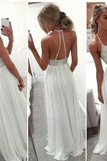 New Arrival Halter Prom Dresses,Chiffon Prom Dresses,Backless Prom Dresses,Spaghetti Straps Prom Dresses,Long Prom Dresses