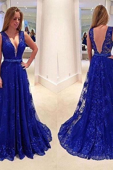 Gorgeous Deep V-Neck Prom Dresses,Lace Prom Dresses,Sleeveless Prom Gowns,Floor Length Prom Dresses,Evening Dresses