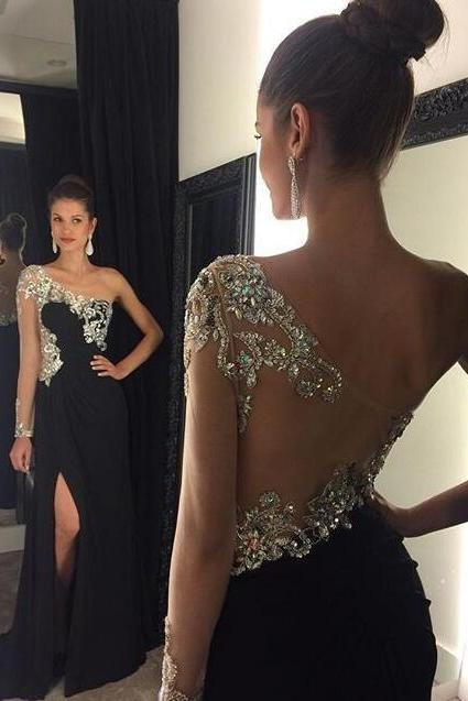 One Shoulder Prom Dress,New Sexy Prom Dresses,Black Prom Dresses,Long Prom Dresses,Formal Party Dresses,With Slit Prom Dresses,A Line Prom Dresses