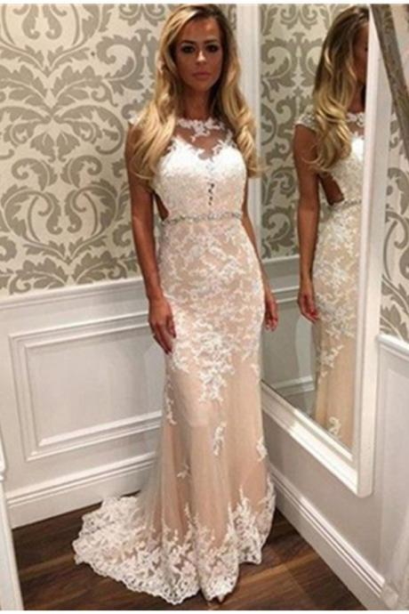 Sweep Train Long Lace Prom Dresses,Charming High Low Prom Dress,Classy Prom Gowns,Formal Prom Dresses