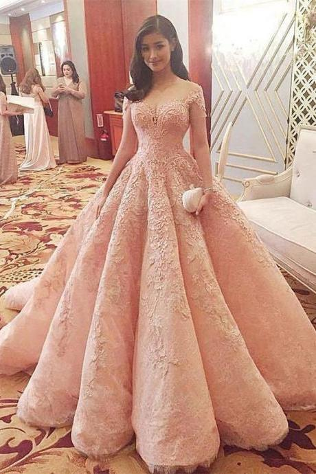 Sparkly Gorgeous Long A-line Prom Dresses,Quinceanera Dresses,Modest Prom Dress For Teens,Pink Prom Gowns