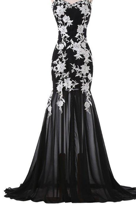 Off shoulder black chiffon prom dress with white lace mermaid long evening dress for women long party dress formal elegant dresses homecoming dresses
