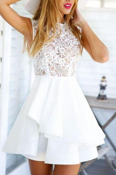White Cute Lovely Prom Dress,Mini Cocktail Dress,Lace Prom Gown,Short Prom Dress