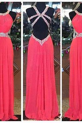 Handmade Pretty Watermelon Backless Prom Dresses 2016, New Style Prom 2017, Prom Gown, Evening Dresses, Formal Dresses
