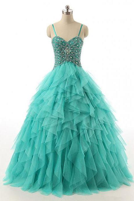 Spaghetti Straps Lace-up Beaded Long Prom Dress, Crystal Turquoise Ball Gown Prom Dress, Cascading Ruffles Tulle Prom Dress