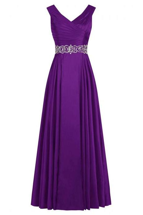 Vintage Purple Pleats Long Prom Dress, V Neck Ruched Sequins A-line Prom Dress, Stunning Crystal Beaded Belt Satin Prom Dress