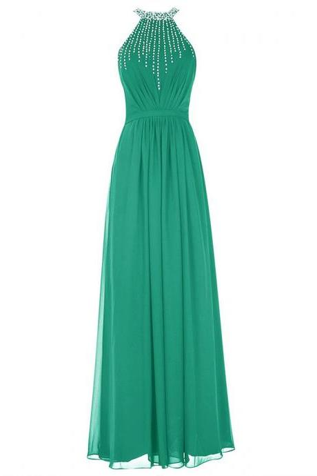 Light Green Crystal Beaded Jewel Neck Prom Dress, Sexy Open Back Long Prom Dress, Elegant Sequins Sheath Chiffon Prom Dress