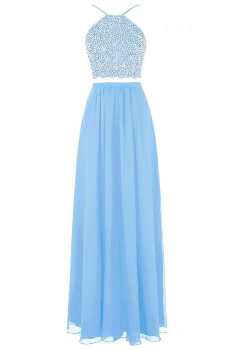 Spaghetti Straps Sequins Light Blue Prom Dress, Two Piece Long Chiffon Prom Dress, Lace-up Crop Top Floor Length Prom Dress