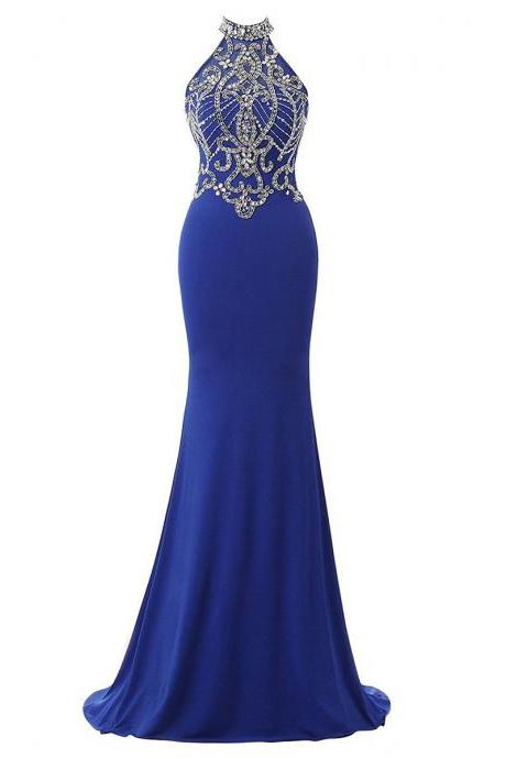 Pretty Crystal Tulle High Neck Prom Dress, Sexy Open Back Royal Blue Long Prom Dress, Chiffon Trumpet Sweep Train Prom Dress